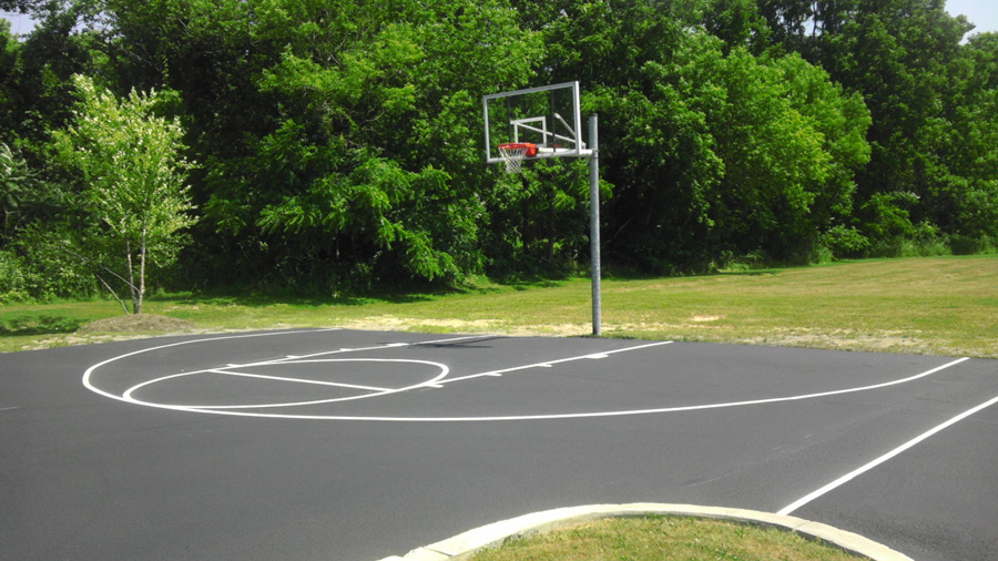 Home basketball court celeritas donar for Sport court cost per square foot